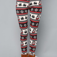 Christmas Pattern Zipper Leggings
