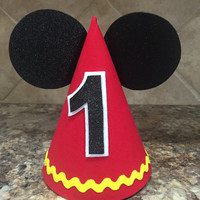 Mickey Mouse Birthday Hat and Minnie Mouse Birthday hat First Birthday twins Birthday 1st Birthday outfit Mickey and Minnie party
