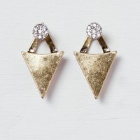 AEO Women's Triangle & Stud Front-to-back Earrings (Mixed Metal)