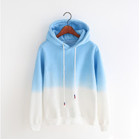 Korean candy-colored hooded fleece sweater