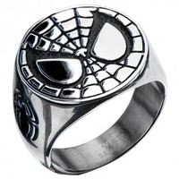 Marvel Comics Spiderman Stainless Steel Face Ring (Size 10)