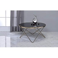 "18"" Glass Top Coffee Table with Metal Base, Black and Gold By Casagear Home"