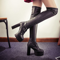 On Sale Hot Deal Waterproof High Heel Stretch Skinny Boots [9013544196]