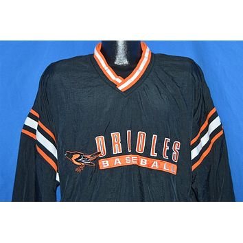 90s Baltimore Orioles Pull Over Black Windbreaker Jacket Large