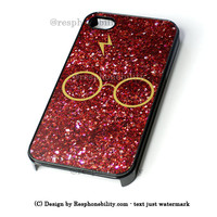 Harry Potter Glasses Red Glitter iPhone 4 4S 5 5S 5C 6 6 Plus , iPod 4 5  , Samsung Galaxy S3 S4 S5 Note 3 Note 4 , and HTC One X M7 M8 Case