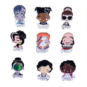 Music Festival Artist ZIGGY AUDREY AMY BASQUIAT WILL MARIE COCO PRINCE Enamel Lapel Pin Brooch Badge Backpacks Button Clothes
