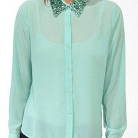 Bejeweled Collar Shirt | FOREVER 21 - 2027705184