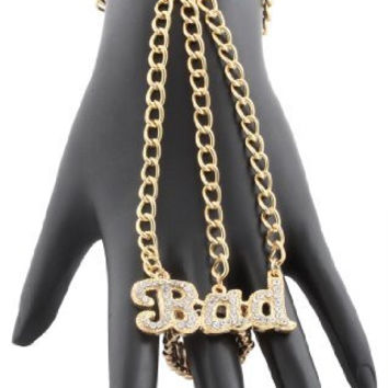 2 Pieces of Goldtone with Clear Iced Out Script Bad One Finger Ring Bracelet Hand Chain