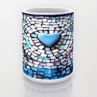 Blue, Heart, Mosaic Design - Ceramic Mug, 2 Sizes Available - Kitchen, Bathroom, New Home or Apartment, Dorm, Gift - Made To Order - BHM#44