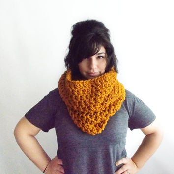 Chunky Cowl in Mustard -AVAILABLE IN 8 COLORS -Hooded Infinity Scarf -Yellow Neck Warmer - Oversized Knits