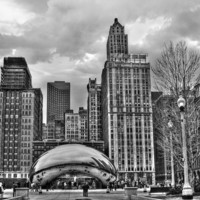 Chicago Skyline in Black and White Photograph by Tammy Wetzel - Chicago Skyline in Black and White Fine Art Prints and Posters for Sale
