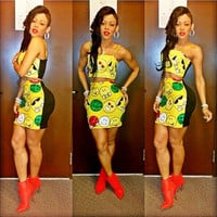 Yellow Emoticon Print Cropped Top and Mini Skirt