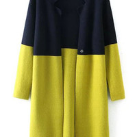 Color Block Long Sleeve Knit Cardigan