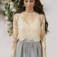 Amelie Longsleeve Lace Crop Top