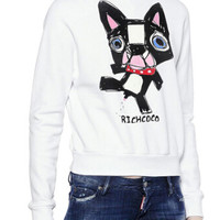 White Dog Printed Sweatshirt