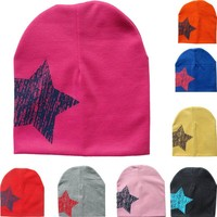 MUQGEW 2017 Hot Selling New Fashion 3 Colors Baby Hat Print Star Baby Beanie For Boys Girls Cotton Knit Hat Children Winter Hats