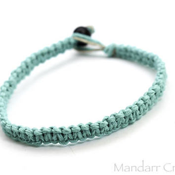 CLEARANCE SALE - Single Teal Hemp Bracelet, Ready to Ship Unisex Jewelry, 7 inch Hand Knotted Macrame Bracelet
