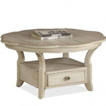 Riverside Furniture Cape May Round Cocktail Table in Seaspray White - 44205 - Accent Tables - Decor
