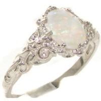 Luxurious Solid Sterling Silver Natural Opal Womens Solitaire Ring - Finger Sizes 4 to 12 Available