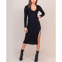 Lush Clothing - V-Neck Long Sleeve Side Slit Knit Midi Dress in Black