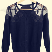 Black Floral Embroidery Mesh Accent Long Sleeve Sweatshirt