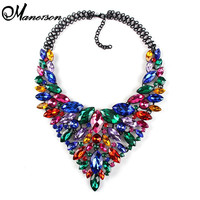 2016 Color Full Hot Crystal Gem Luxury Bridal V Shaped Rhinestone Wedding Maxi Statement Necklace Collar  Necklace &Pendants0120
