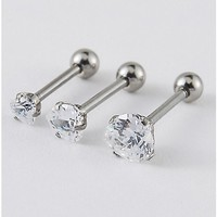 Cz Heart Cartilage Earrings 3 Pack - 18 Gauge - Spencer's