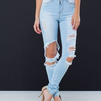 Deconstructed Stone Washed Jeans
