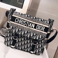 DIOR High Quality Retro Women Shopping Bag Canvas Shoulder Bag Crossbody Satchel