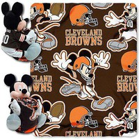 Cleveland Browns NFL Mickey Mouse Throw and Hugger Pillow Set