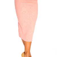 Pink Floral Knee Lenght Textured Midi Pencil Skirt