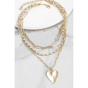 Layered Chain Necklace with Heart Pendant