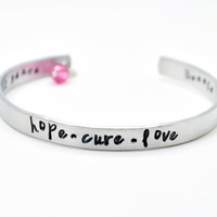 Breast Cancer Awareness Personalized Cuff Bracelet with Crystal Dangle, Breast Cancer, Susan Komen, Pink Ribbon