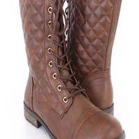 Brown Quilted Mid Calf Combat Boots Faux Leather