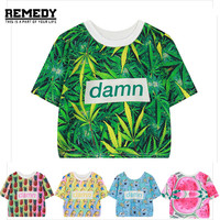 DAMN Letters Print O-Neck Crop Top
