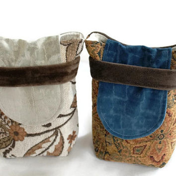 Reusable Party Favors Small Gift Bags Brown Cream Tan Blue Rust Upholstery Fabric Paisley Floral Retro (set of 2) --US Shipping Included