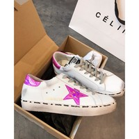 Golden Goose Ggdb Hi Star Sneakers With Fuchsia Laminated Star - Best Online Sale