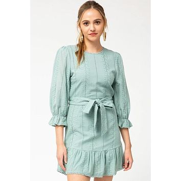 On That Note Sage Green Eyelet Lace Dress