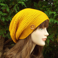 Mustard Yellow Slouch Beanie - Womens Slouchy Crochet Hat - Ladies Oversized Cap with Button - Hipster Hat