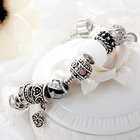 Valentine's Day Couples romantic Gifts murano glass bead charm beaded Fit Pandora Style Bracelets