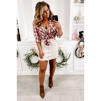 Love No More Button Up Plaid Flannel Top (Red)