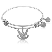 Expandable Bangle in White Tone Brass with U.S. Air Force Symbol