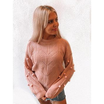 So Cozy Pom Sweater | Blush