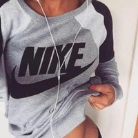 fashion spell color letter print round neck top pullover sweater sweatshirt there is two piece set
