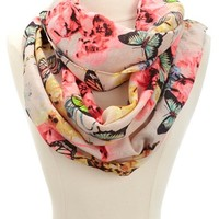 BUTTERFLY & FLORAL INFINITY SCARF