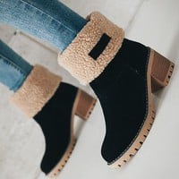 New Black Round Toe Chunky Fashion Ankle Boots