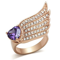 Amethyst Heart and Round Clear CZ Rose Gold Wing Ring