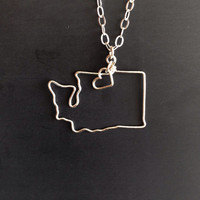 Custom State Love Necklace- Washington State Necklace- Personalized Necklace- Any State or Country- Silver or Gold