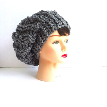 Crochet cable hat, Grey slouchy beanie hat, crochet beanie, womens hat, mens hat, unisex hat, ready to ship