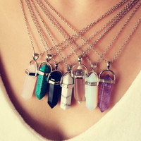 Crystal Chakra Healing Gemstone Necklace